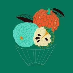 Marisol Ortega — Fruit & Line Series Apple Illustration, Botanical Illustration, Graphic Illustration, Invisible Creature, Guache, Cool Posters, Food Illustrations, Cover Design, Original Artwork