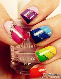 nail art rainbow swirl nails #nailart #maniure