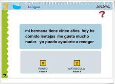 """""""El punto y la mayúscula"""" (Actividad interactiva de Lengua Española de Primaria) Anaya, Punctuation Activities, Interactive Activities, Spanish Language, Teaching Resources"""