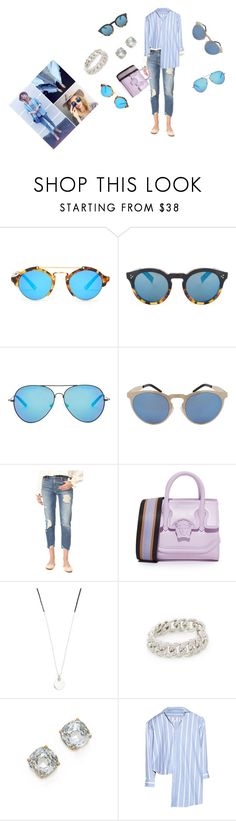 """Blue Sunglasses..**"" by yagna ❤ liked on Polyvore featuring Illesteva, Matthew Williamson, Mother, Versace, Scosha, Shay, Emma Jane, Kate Spade and Vetements"