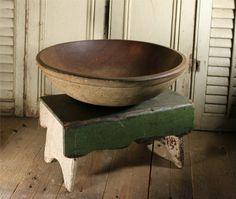 Antique Primitive Large Wooden Dough Bowl Out of Round
