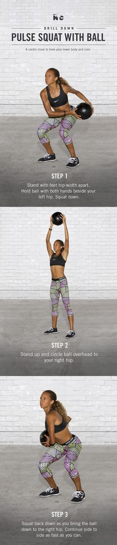 Tone your lower body and core with the Pulse Squat with Ball in the Nike+ Training Club Tabata Toned workout. Download the N+TC app now to get started.