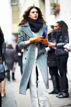 Fall Outfit Inspiration: Long Wool Coat with a Chunky Snood Scarf | Street Style