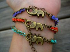 Woven Chain Bracelet - orange & antique brass. €18.00, via Etsy.