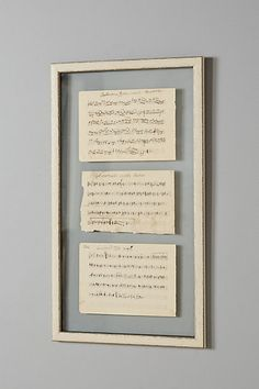 Love Notes Vintage Wall Art | Found music sheets from 19th century France have been carefully preserved in a distressed pine frame.
