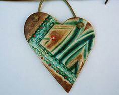 Contemporary Green Heart Flower Wall hanging Ornament Handmade Textured Heart Love Asymmetric Ceramic Wall Heart, XOXO,  Abstract Heart.