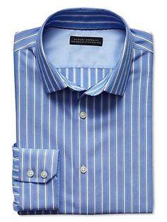 Tailored slim fit non-iron bar stripe shirt in bella blue | Banana Republic