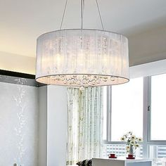 Modern-Drum-Pendant-Lamp-Light-Chandelier-Crystal-Fabric-Ceiling-Cylinder