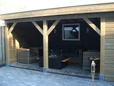 Overkapping tuin Porch Veranda, Wooden Gazebo, Garage Doors, Shed, House Design, Outdoor Structures, Outdoor Decor, Porches, Amsterdam