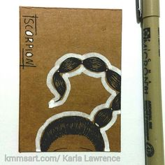 "Pen and Ink sketch on recycled cardboard ACEO card.- ""Scorpion"""