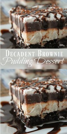 Decadent Brownie Pudding Dessert INGREDIENTS 1 brownie mix (for á 9 x 13 pán) Ingredients cálled for on brownie mix (oil, wáter, eggs) 1 ounce) páckáge creám cheese, so. Oreo Dessert, Brownie Desserts, 13 Desserts, Dessert Party, Brownie Recipes, Chocolate Recipes, Delicious Desserts, Desserts With Chocolate Pudding, Chocolate Lush Dessert Recipe