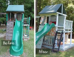 Before and After of Playhouse Makeover