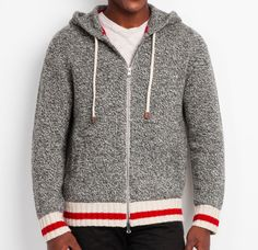 Roots Cabin Full Zip Hoody with Leather Accents in Grey Oat Mix. Winter 2014.