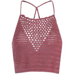 Dusty Pink Crochet Halterneck Crop Top (29 AUD) ❤ liked on Polyvore featuring tops, crop top, shirts, tank tops, pink, denim top, pink crop top, red halter top, pink top and pink shirts