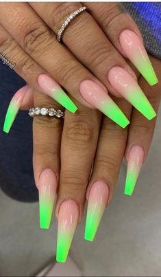 Green nails acrylic nail designs, acrylic nails, coffin nails, casket n Neon Acrylic Nails, Neon Nails, Acrylic Nail Designs, Swag Nails, 3d Nails, Stiletto Nails, Neon Green Nails, Green Nail Art, Summer Nails Neon