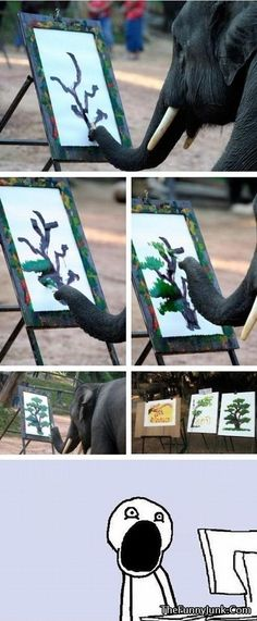 That awkward moment when you realize that an elephant can paint better than you....