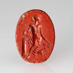 A Roman Sard Gemstone Intaglio of Dionysus, ca. 1st century AD