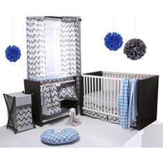 Crib Bedding Set 6-Piece Bacati Ikat Blue/Grey Crib Bedding Set Bacati Ikat