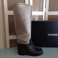Authentic Chanel Two-Toned Riding Boots 100% Authentic Chanel riding boots. Purchased from Neiman Marcus for $1,595 plus (CA) tax! Only worn twice. In excellent condition. No scratches, marks. Just a natural slight crease where the foot bends when walking. Selling to make some room. I'd be happy to send you more photos. Will come with the Chanel box, it's huge and the price includes the additional shipping cost. Please no crazy offers. ✌ CHANEL Shoes