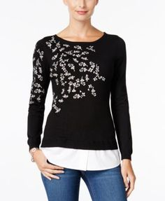 207f7011caf1 Charter Club Embroidered Layered-Look Sweater