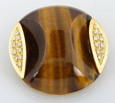 Tiger Eye Gold & Diamond Brooch or Pendant Diamond Brooch, Auction, Canada, Eye, Pendant, Gold, Pendants