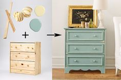 Create a Cottage look by adding nose-and-cove molding frames to the drawer fronts and covering in a timeworn patina (we painted everything pale yellow before topping it with soft blue; then we sanded in spots to reveal the color beneath).