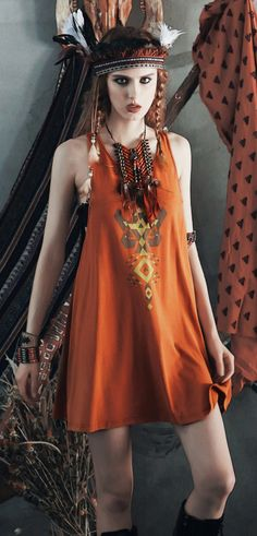 Bohemian sleeveless crew neck orange printed cotton blend mini dress