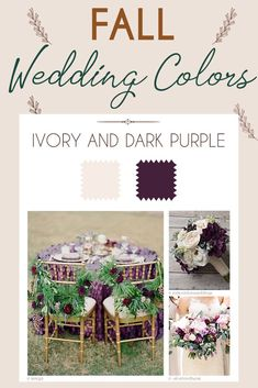 Steal These 24 Fall Wedding Colors Combo Ideas ❤ fall wedding colors palette ivory and dark purple palette #weddingforward #wedding #bride