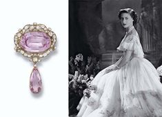 AN ANTIQUE PINK TOPAZ AND DIAMOND PENDENT BROOCH The central oval pink topaz within a scroll border of cushion-shaped diamonds suspending a detachable topaz and diamond drop, mounted in silver and gold, circa 1860. from the Collection of H.R.H The Princess Margaret, Countess of Snowdon