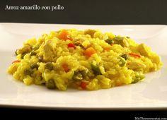 Arroz amarillo con pollo - MisThermorecetas.com Paella, Rice Recipes, Risotto, Ethnic Recipes, Food, Recipes With Rice, Sausages, Healthy Recipes, Dishes
