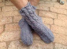 Chunky slipper socks for cold winters...with soles and cables. Size 8