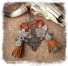 Native TASSEL Earrings TRIBAL Disk earrings Cowgirl Afrocentric earrings Dangle earrings Boho Chic Leather earrings Festival jewelry GPyoga