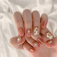 Korean Nail Art, Korean Nails, Gem Nails, Gelish Nails, Cute Pink Nails, Pretty Nails, Simple Gel Nails, Diamond Nail Art, Nails Design With Rhinestones