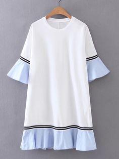 Bell Sleeve Contrast Ruffle Hem Dress