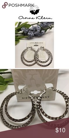 "New! Textured Silver Hoop Earrings These gorgeous silver tone hoop earrings will add flair to any outfit!  Measures approx. 2"" in diameter. NEW! Anne Klein Jewelry Earrings"