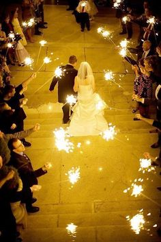 Wedding Sparklers Ideas and Inspiration - Sparklers as the Bride and Groom Exit or Leave the Wedding Reception 02