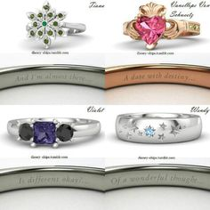 Disney inspired rings (Top: Tiana and Vanellope; Bottom: Violet and Wendy) Necklace Designs, Ring Designs, Disney Inspired Rings, Disney Princess Rings, Disney Ships, Estilo Disney, The Violet, Disney Jewelry, Disney Outfits