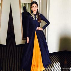 Buy Navy Blue - Yellow Banglori Silk Gown Lehenga - Online Women Ethnic wear At ethnicfactory. Muslim Evening Dresses, Indian Gowns Dresses, Indian Fashion Dresses, Dress Indian Style, Indian Designer Outfits, Indian Outfits, Black Indian Gown, Lehenga Designs, Bollywood Style Dress