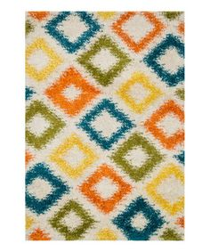 Another great find on #zulily! Ivory & Green Diamond Cosma Shag Rug #zulilyfinds