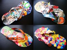 "Just wanted to share one of my first seventh grade art projects.  I asked each student to make a cut paper flip flop and cover it with a personal collage.  Every single one turned out awesome!  I hung them in a walking trail in the hallway outside my room just in time for Open House with a sign that said, ""Look who strolled into the Art room ."
