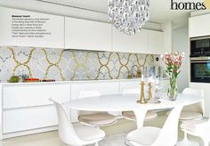 wallpaper with ikea cabinetry so modern Kitchen Dining, Dining Table, Tile Manufacturers, Casa Real, Love Your Home, Tile Installation, Modern Spaces, House Rooms, Apartment Living