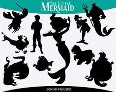Little Mermaid Instant Download silhouette by pinkykatieclipart Disney Silhouette Art, Disney Princess Silhouette, Disney Silhouettes, Silhouette Images, Disney Tees, Disney Diy, Disney Themed Nursery, Nail Stencils, Mermaid Bedroom