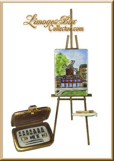 Moulin Rouge Painting on Easel Limoges Box Set - Retired