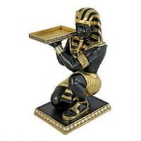 Egyptian Pharaoh's Kneeling Nubian Servant: Egyptian Side Table Statue