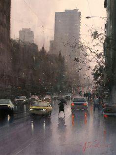 Joseph Zbukvic(Croatian/Australian. Born, 1952) Wet Day 05. Watercolour.