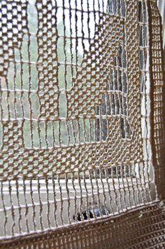 vintage Berkeley Knot macrame curtain panel. $60.00, via Etsy.