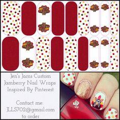 Turkey Polka - Custom Wrap - www.jschnitzer.jamberrynails.com JLLS702@gmail.com #jamberrynails jamberry nails #jamberry #Thanksgiving nail designs nail art