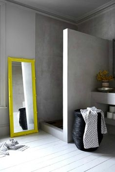 Neon yellow mirror frame