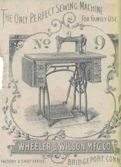 Vintage Image Treadle Sewing Machine  2 1/4x3 1/4 by RibbonSmyth