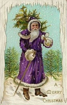 Beautiful Father Christmas in royal purple robe vintage postcard Vintage Christmas Images, Victorian Christmas, Vintage Holiday, Christmas Pictures, Father Christmas, Christmas Art, Christmas Greetings, Coastal Christmas, Modern Christmas